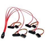 """(€73,90*/1m) 0.50m Startech SAS Anschlusskabel SFF-8087 Stecker auf 4xSFF-8482 + 5,25"""" Molex Strom Stecker Schwarz"""