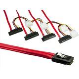 """(€53,27*/1m) 0.75m Good Connections SAS Anschlusskabel SFF-8087 Stecker auf 4xSFF-8482 + 5,25"""" Molex Strom Stecker Rot gewinkelt"""