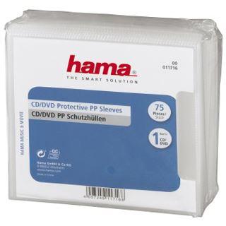 hama CD-/DVD-Hülle, PP, transparent, oben offen