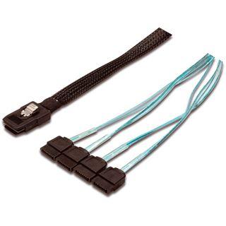 0.50m Good Connections SAS 3Gb/s Anschlusskabel SFF-8087 Stecker auf 4xSATA Stecker Schwarz