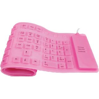 LogiLink Flexible Waterproof Keyboard PS/2 & USB Deutsch pink (kabelgebunden)