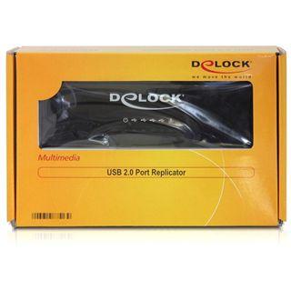 Delock Portreplikator USB 2.0 mit LAN+USB+Audio+Seriell