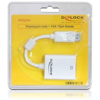 Delock Displayport 1.2 Adapter Displayport Stecker auf VGA 15pol Buchse Weiß Ferritkern