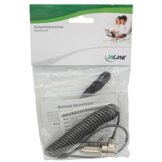 InLine Notebook Sicherheitsschloss, , Spiralschloss mit Zahlenkombination, 3,2mm x 1,8m, bulk