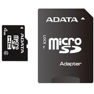 4 GB ADATA Turbo microSDHC Class 2 Retail inkl. Adapter auf SD