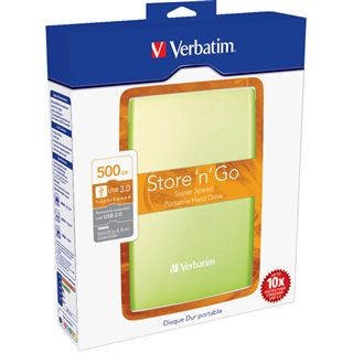 "500GB Verbatim Store and Go Portable 53024 2.5"" (6.4cm) USB 3.0 gruen"