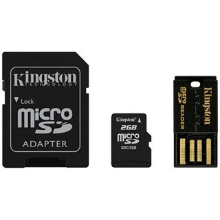 2 GB Kingston Multi Kit microSD Class 2 Retail inkl. Adapter