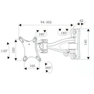 """InLine Wandhalterung, , für TFT bis 61cm (24"""") max. 15kg, 4 Achsen"""