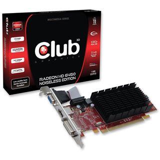 1GB Club 3D Radeon HD 6450 Noiseless Edition Low Profile Passiv PCIe 2.1 x16 (Retail)