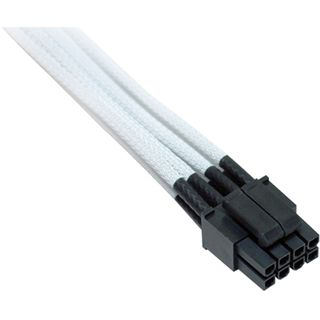 NZXT 4+4-Pin ATX/EPS Verlängerung 25cm, schwarze Anschlüsse - sleeved weiß