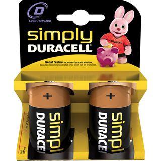 Duracell Simple D / Mono Alkaline 1.5 V 2er Pack