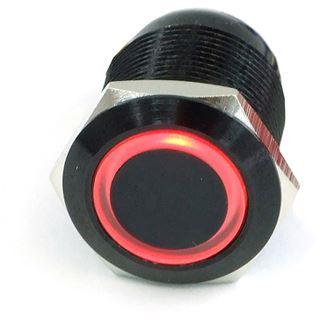 Phobya Vandalismustaster 19mm Aluminium schwarz, rot Ring beleuchtet 6pin