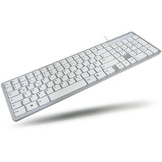 WinTech Chiclet Keyboard USB Deutsch weiß/silber (kabelgebunden)