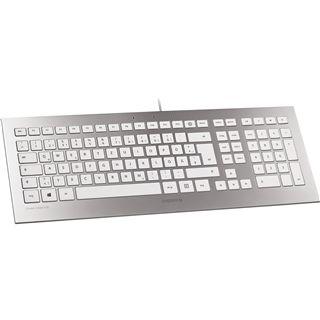 CHERRY STRAIT Corded Keyboard USB Franzoesisch weiß/silber (kabelgebunden)