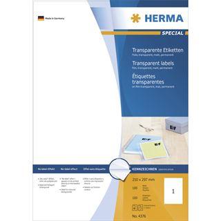 Herma 4376 Folie Transparent-Etiketten 21.0x29.7 cm (100 Blatt (100 Etiketten))