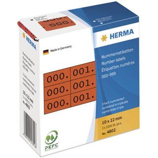 Herma 4802 rot/schwarz selbstklebend 3fach Nummernetiketten 1x2.2 cm (3000 Stück (000-999))