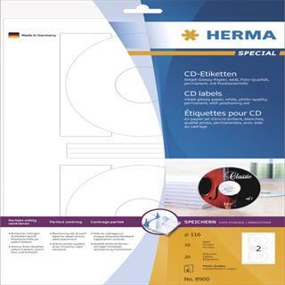 Herma 8900 CD-Etiketten 11.6x11.6 cm (10 Blatt (20 Etiketten))